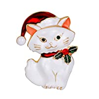Dwcly ビンテージ 猫 ブローチ エナメル ホリデー クリスマス クリスマス 猫 子猫 サンタ 帽子 ブローチ ピン