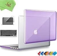 "ueswill 3in1光沢クリスタルクリアSee Throughハードシェルケースとシリコンキーボードカバーfor MacBook Retina +マイクロファイバークリーニングクロス MacBook Pro 15"" with Retina Display パープル UES06C15R3-06"