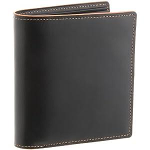 [バルア] カラーステッチ ボックス型小銭入れ二つ折り財布 メンズ 革財布 150-991 オレンジ