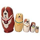 ゴシレ Gosear 5個 ロシア 人形 マトリョーシカ 木製玩具 装飾 犬パターン