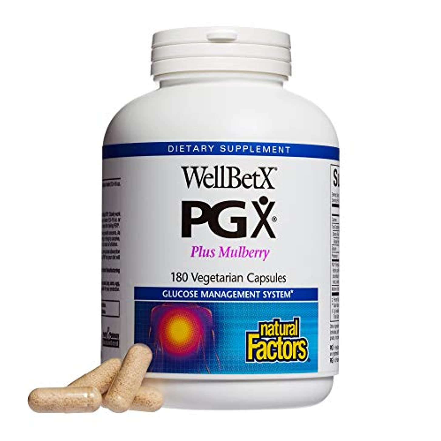 優遇柱改善海外直送品 Natural Factors WellBetX PGX with Mulberry, Mulberry 180 Caps