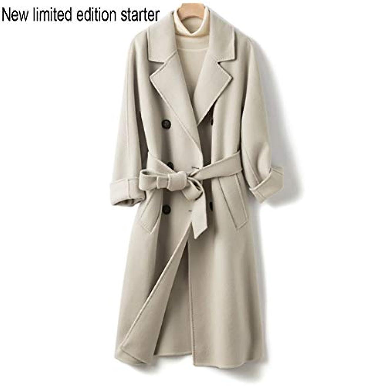 クリア線形邪魔するウールコート、両面コート、ロングウールコート、秋と冬新しい婦人服女性のうれしそうな冬のジャケットコート