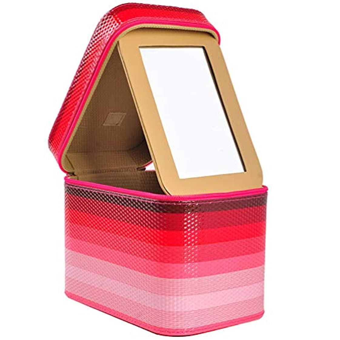 聞きます踏み台侮辱[カタク]メイクボックス コスメボックス 大容量 鏡付き 化粧ボックス おしゃれ 取っ手付 携帯便利 化粧道具 メイクブラシ 小物 出張 旅行 機能的 PUレザー プロ仕様 きらきら 化粧ポーチ コスメBOX
