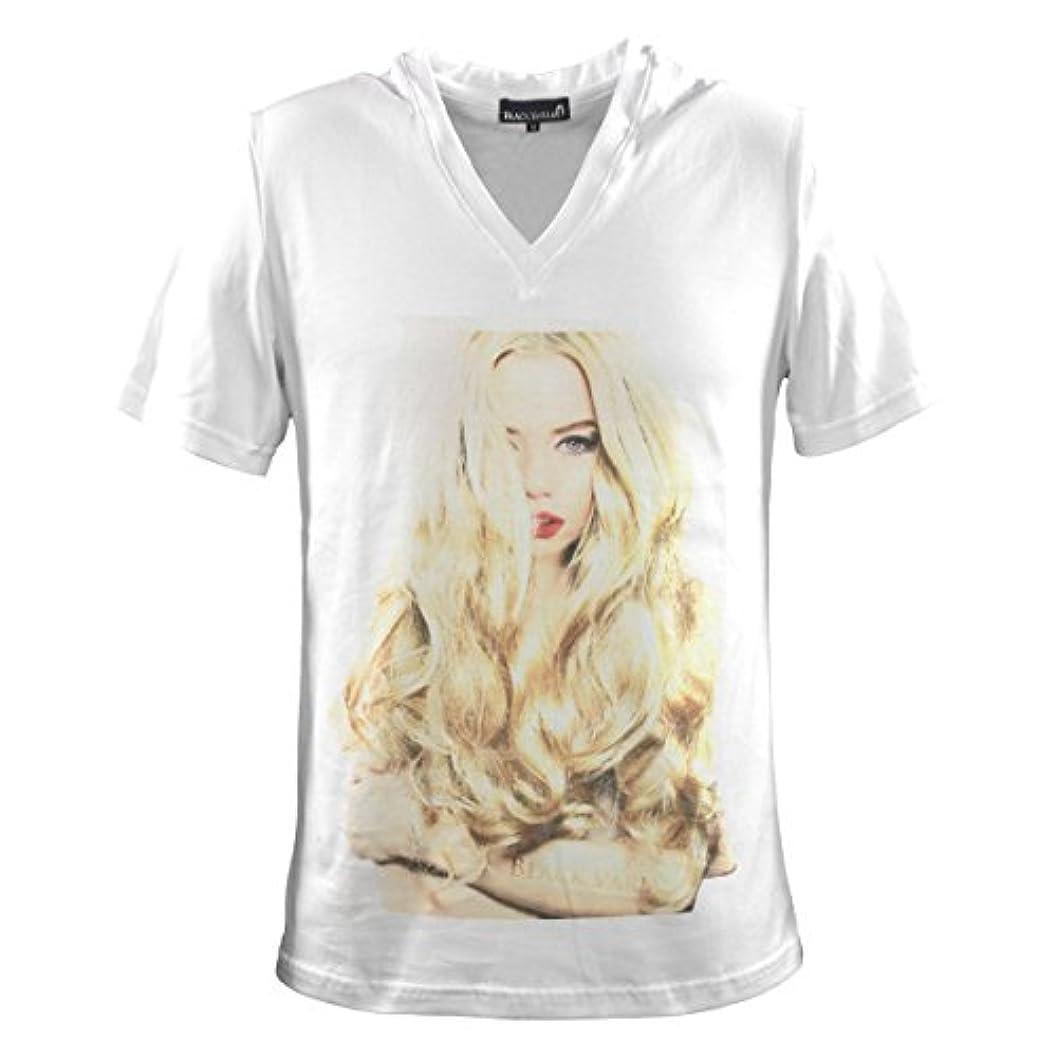 年クック石の(ブラックバリア) BLACK VARIA Tシャツ ガール セクシー 女性 外国人 外人 Vネック 半袖Tシャツ メンズ ホワイト白1 zkt004