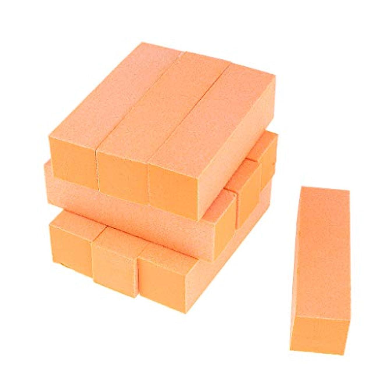 Toygogo 両面ネイルバッファーネイルシャイナースポンジネイルファイルサンディングブロック-ソフト&シルキー、10個-作成された滑らかで美しいネイル - オレンジ