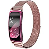Kartice for Samsung Fit 2 Fit2 Watch Wrist Bands Accessories, Stainless Steel Bracelet Strap Bands Milanese Loop Mesh Relacemenmt Wrist Band with Magnetic Lock Blue for Fit 2 Smartwatch Band- Pink