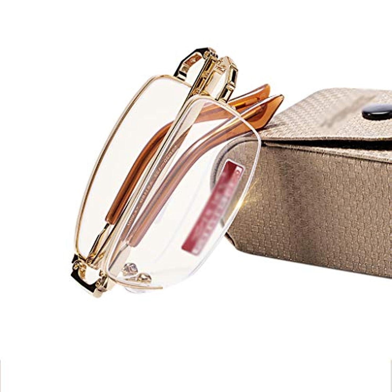 YiYi老眼鏡 折りたたみ式携帯用老眼鏡、男性用女性ケース付きメタルフレーム老眼鏡、ウルトラライト、アンチブルーレイ(+ 1.0?+ 3.0)