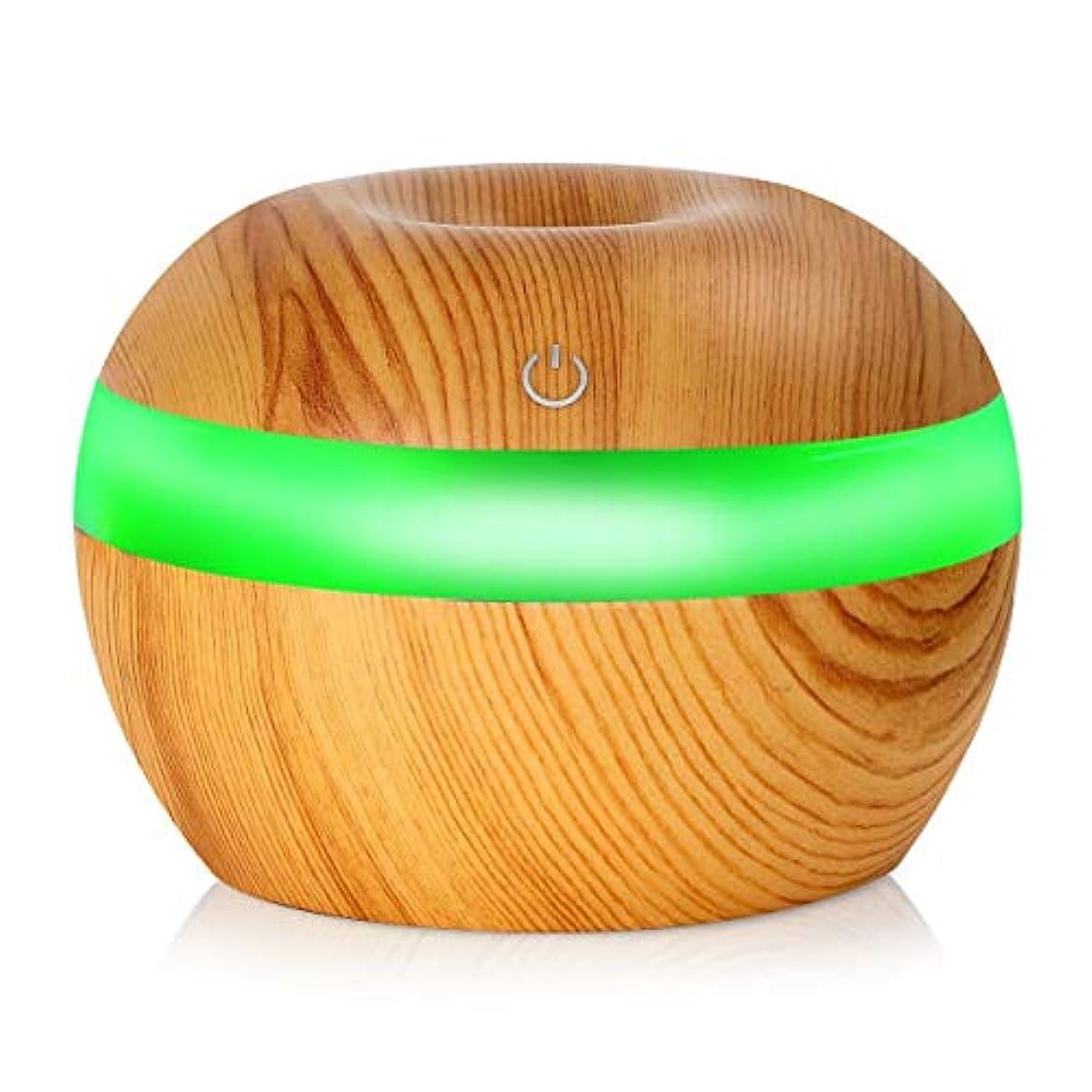 応じる冷笑する植物のSaikogoods 7色の変更Nightlightsと電子 木目 超音波エッセンシャルオイルディフューザー 水分加湿器 空気清浄 桃の木の色 03#