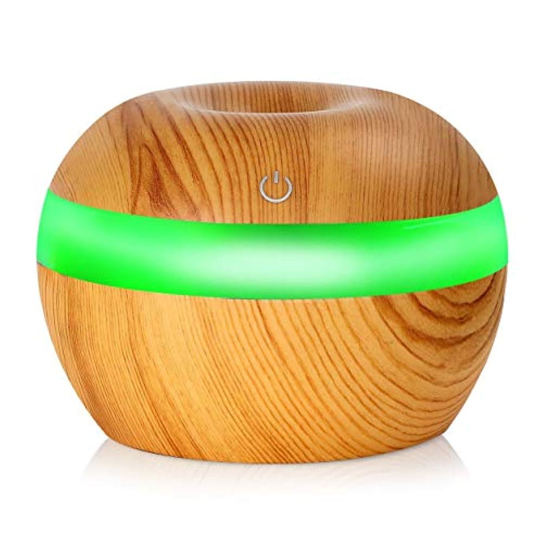 他の日聴く顕現Saikogoods 7色の変更Nightlightsと電子 木目 超音波エッセンシャルオイルディフューザー 水分加湿器 空気清浄 桃の木の色 03#