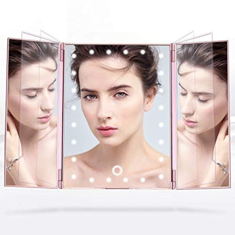 盲目伝導率発行Telustyle 化粧鏡 卓上ミラー三面鏡 LED付き折りたたみ式 明るさ調整可能 ローズゴールド