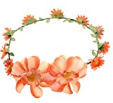 Amazon.co.jp(ビグッド)Bigood 花冠 花かんむり ウェディング ヘッドドレス 花輪 フラワー造花 髪飾り 写真撮影 花嫁 結婚式 二次会 パーティーオレンジ