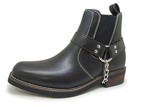STAG BEETEL SB702 25.0 ブラック [ メンズ サイド ゴア リング ブーツ ショート 2way ベルト ]