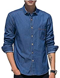 Qiangjinjiu メンズカジュアルボタンドレスシャツロングスリーブデニムワークシャツ