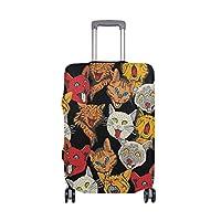 スーツケースカバー 猫柄 パターン 伸縮素材 旅行 弾性設計 防塵 ラゲッジカバー キャリーカバー 人気 S M L XL お荷物カバー