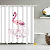 フック付きの耐久性のあるシャワーカーテン熱帯の楽園ピンク水彩フラミンゴホワイトバックグラウンド防水ポリエステル生地風呂カーテン 150x180 cm