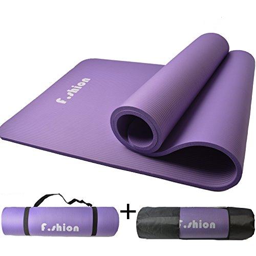 YOGA MAT ヨガマット 収納ケース付き 厚さ10MM エクササイズマット ピラティスマット トレーニングマット にも使用可能 (紫)