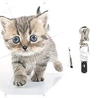 ALAZA 折りたたみ傘 自動開閉 猫柄 萌え レディース メンズ 頑丈な8本骨 高強度グラスファイバー 晴雨兼用 収納ポーチ付き
