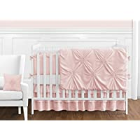 Solid Color Blush Pink Shabby Chic Harper Baby Girl Crib Bedding Set with Bumper by Sweet Jojo Designs - 9 pieces [並行輸入品]