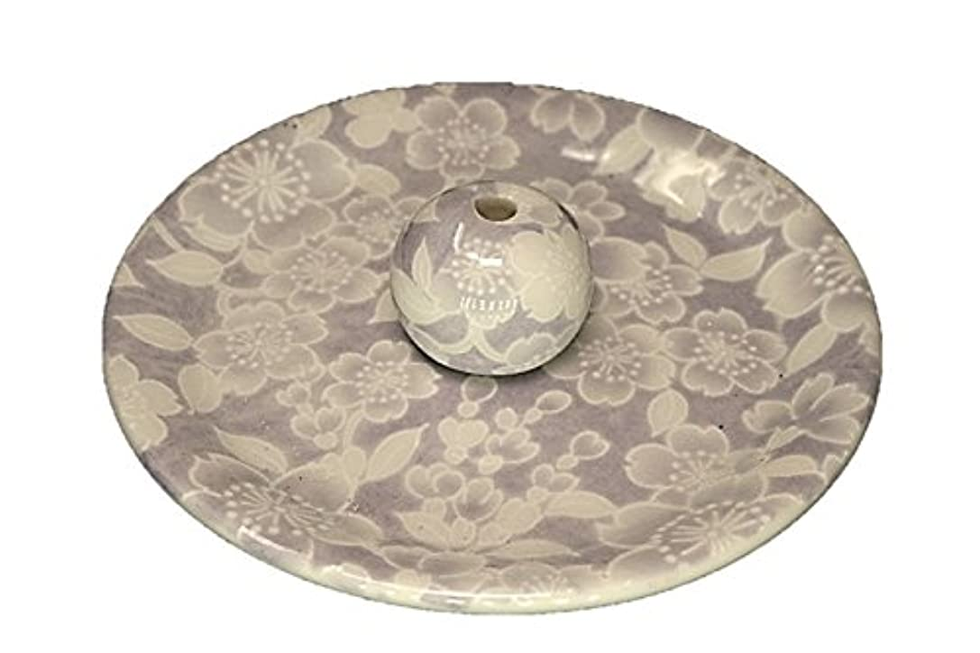 二年生つまらない特徴づける9-54 桜友禅 紫 お香立て 9cm香皿 お香たて 陶器 日本製 製造 直売