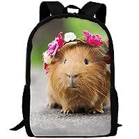 かわいい動物と花輪大人旅行バックパック学校カジュアルデイパック屋外ラップトップバッグ大学コンピューターショルダーバッグ
