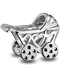 New Mother To Be New Mom Baby Carriage Stroller Charm Bead For Women 925 Sterling Silver Fits European Bracelet