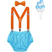 Baby Boys First Birthday Cake Smash Outfit Bloomers Bow Tie Suspenders Set Fishing Party Diaper Cover by WELROG