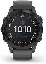 Garmin Fenix 6 Pro Solar, Premium Multisport GPS Smartwatch, Black With Slate Grey Band