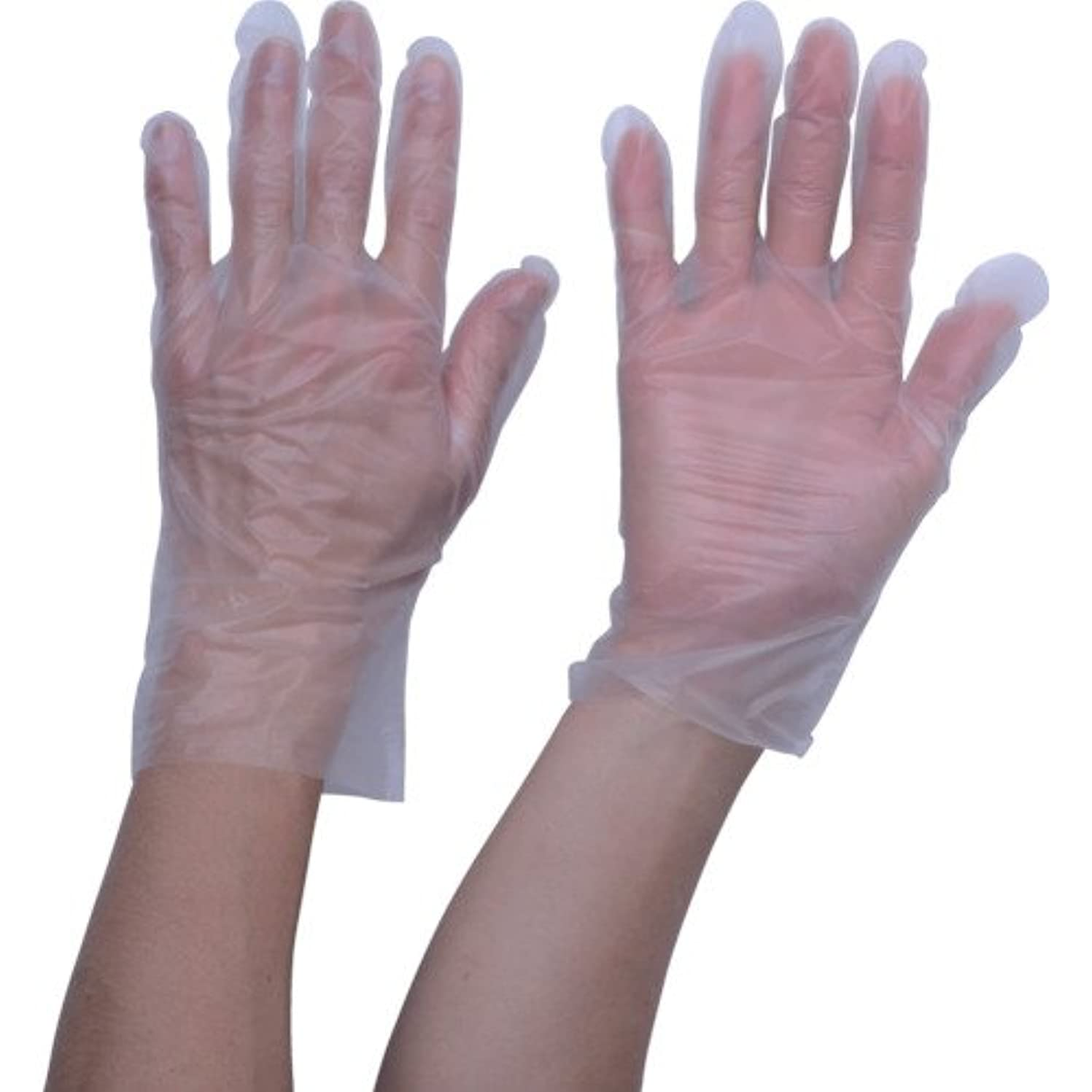 普通に巻き戻す手TRUSCO ポリエチレン 使い捨て手袋 ウェーブカットタイプM (100枚入)(入数:100枚) TGCPE025M