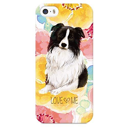 iPhoneSE iPhone5S iPhone5 ハード ケース カバー ボーダーコリー flower NoA グッズ 花 花柄 かわいい 犬 イヌ