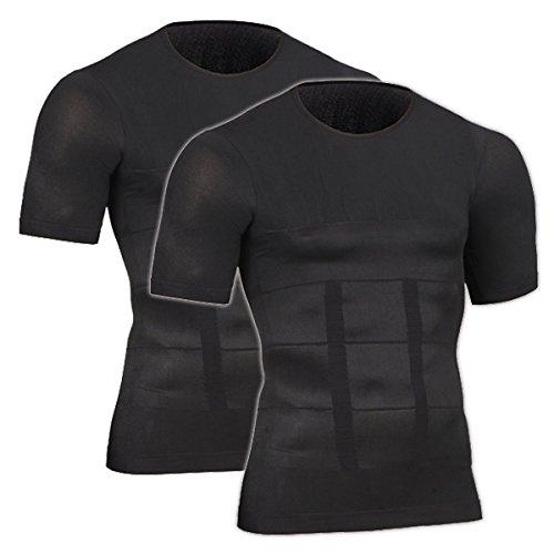 SWELLFLOW メンズ インナー 姿勢矯正 コンプレッションウェア 加圧インナー 着圧 半袖 無地 ダイエット 吸汗速乾 アンダーウェア シャツ (L, ブラック 2枚セット)