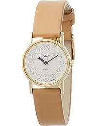 [リキ]RIKI 腕時計 RIKI 小さなメタルのソーラー時計  薄いグレー文字盤 ブラウンバンド AKQD032 レディース