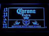 Corona Extra Open Beer Bar LED看板 ネオンサイン ライト 電飾 広告用標識 W30cm x H20cm ブルー