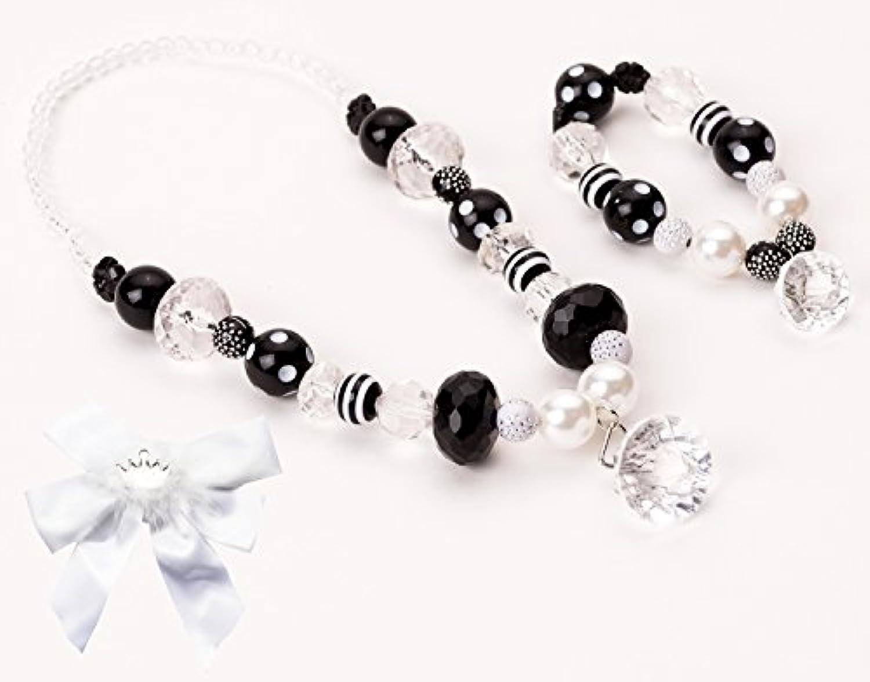 [リトルアドベンチャー]Little Adventures Little Adventure Black & White Diamond Kids Chunky Necklace & Bracelet with Bow LA-68083-B [並行輸入品]