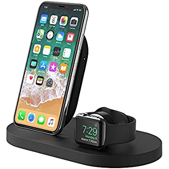 【Amazon.co.jp 限定】belkin Boost upワイヤレス充電ドック(Qi認証/iPhone + Apple Watch用、USB-A端子付属)[国内正規品] F8J235DQBLK-A