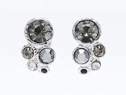[해외]크기가 다른 스톤이 교대로 세로로 늘어선 나사 스프링 귀걸이 귀걸이/Thread spring type earring earrings in which stones of different sizes alternately arranged in a vertical direction