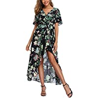 V Fashion Women's Floral Wrap Maxi Dress Short Sleeve Boho High Low Beach Party Dress