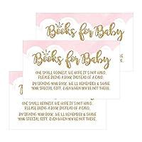 25Books For Baby要求挿入カードforピンクガールズHeaven Sentベビーシャワー招待状またはInvites、かわいいBring a Bookの代わりのカードの主題Gender Revealパーティーストーリーゲーム、ビジネスカードサイズ