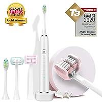 電動歯ブラシ、2つの交換ヘッドを備えたAICaseソニック歯ブラシ、3つの側面の同期振動、3D電動歯ブラシ、敏感でガムケア付きの4つのモード、ワイヤレス誘導充電/防水 (白)