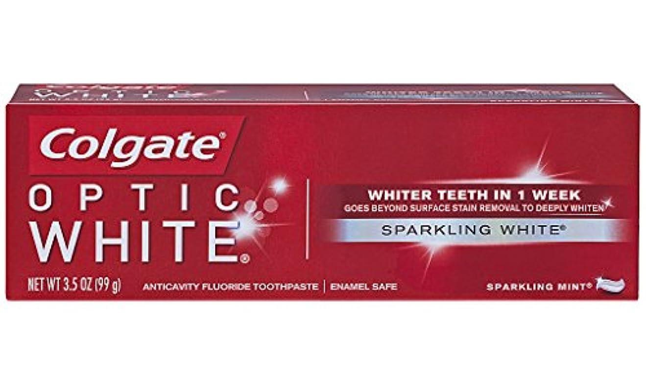印をつける写真撮影一方、Colgate オプティックホワイトハミガキ、スパークリングミント、3.5オンス(6パック)