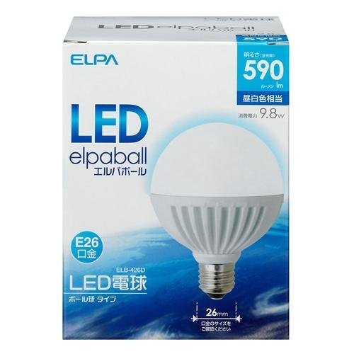 ELPA LED電球ボール球タイプ(全光束:590 lm/昼白色相当)LED エルパボール ELB-426D