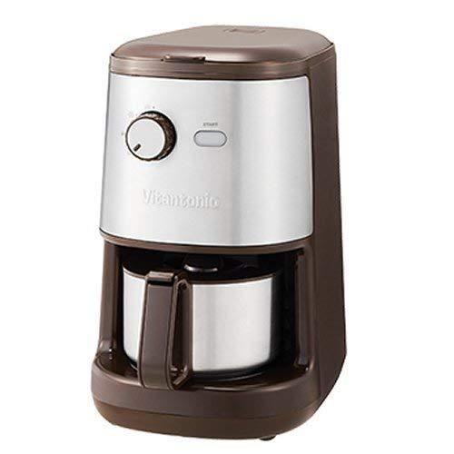 全自動コーヒーメーカー ブラウン Vitantonio ビタントニオ VCD200 ミル付き コンパクト 簡単 コーヒーマシーン お洒落
