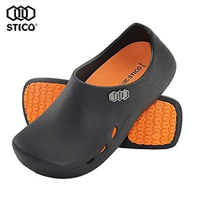 [STICO] スティコ NEC-03H 男女兼用 滑り止め 作業靴 コックシューズ 厨房靴 軽量 耐滑 耐油 bk-26