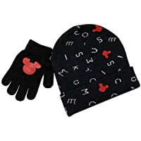 Disney Mickey Mouse Winter Hat and Glove Set, Boys Ages 4-12 Black and Red