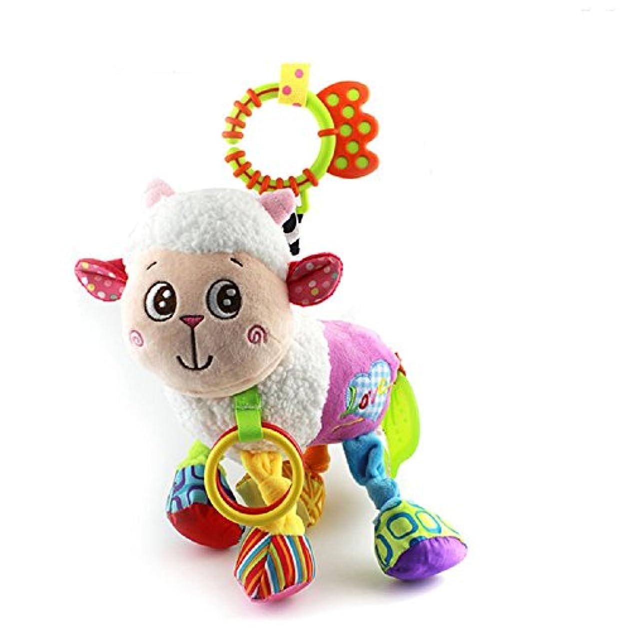 取り囲む歩行者ピッチベビーカー用おもちゃ ベビーベッド用 ぬいぐるみ ハンギングトイ 音鳴り 歯固め フック付き 可愛い動物玩具 出産お祝い プレゼント ひつじ