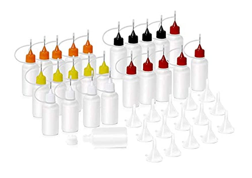 HNYYZL 針付き スポイトボトル プラスチック製 電子タバコ 詰め替え容器 液体 貯蔵用 ニードルチップ付 25书漏斗15必备空瓶用于电子烟液体注射