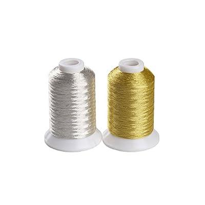 金銀色糸 ラメ糸 刺しゅう糸 手縫い飾り ミシン糸 各500M, 金銀糸2枚