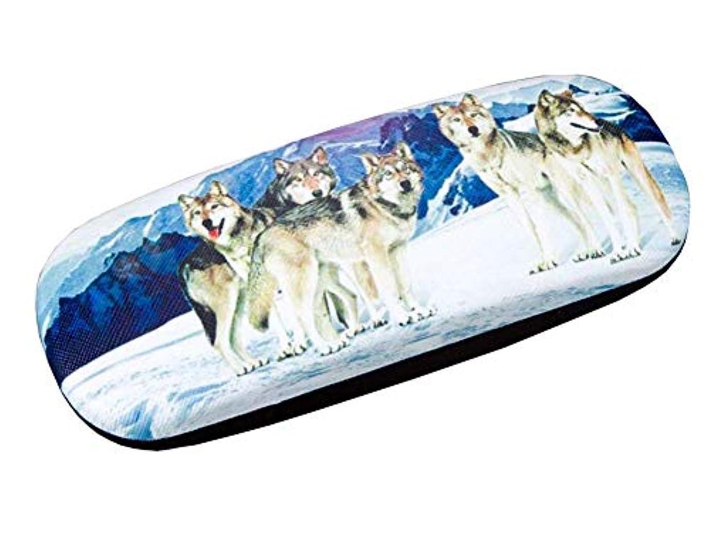 選挙ウール艦隊PUレザーハードシェル眼鏡ケースメガネ収納ケースメガネ用保護ケース狼 - 01