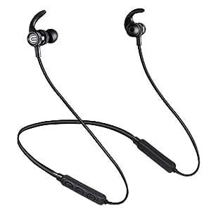 「2019最新スポーツイヤホン」 Bluetooth4.2イヤホン 長時間再生IPX7完全防水 ワイヤレスイヤホン ネックバンド型イヤホン 高音質 重低音 ステレオイヤフォン 騒音低減 ハンズフリー通話 ブルートゥースイヤホン 首掛けタイプ カナル型 日本語説明書付き 軽量 Bluetooth ヘッドホン(ブラック)