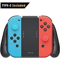 Connyam Nintendo switch Joy Con充電グリップ スイッチ充電ハンドル switch充電スタンド USBタイプC充電ケーブル付き 2個プロサムグリップキャップ付き switch 2in1スイッチ充電グリップ