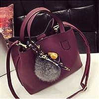 Manmeiyang PUレザー女性バッグ、2個ハンドバッグショルダーメッセンジャーバッグ handbag for women (Color : Burgundy)